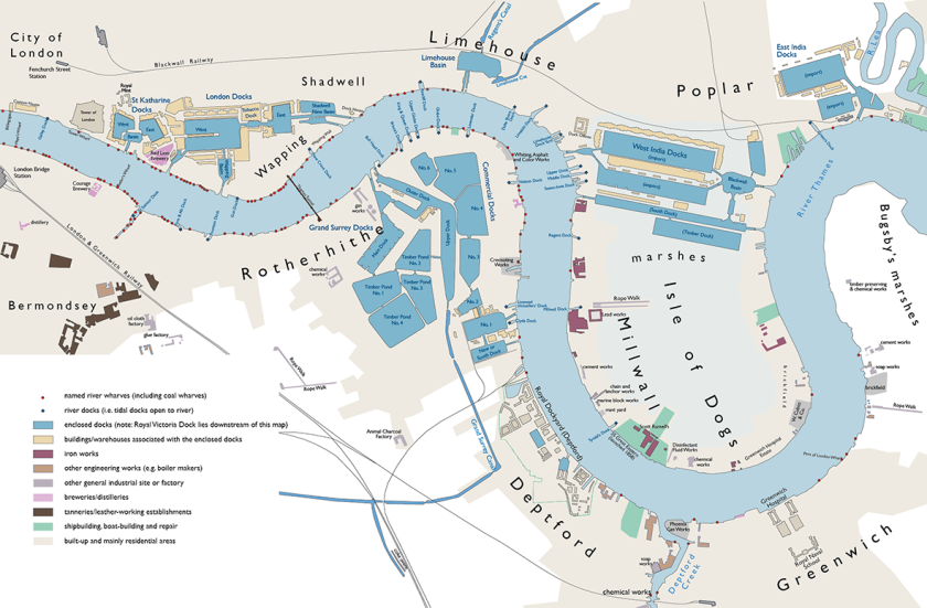 London docks from Stanford map